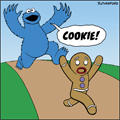 Cookie Monster chasing Gingerbread Man cartoon